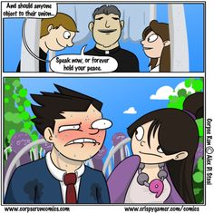 Phoenix Wright at a marriage.