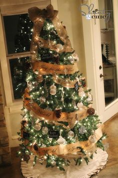 Christmas tree - would be cute to make burlap garland with verse written on it.