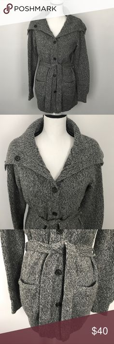 "Tommy Hilfiger Thick Grey Wool Belted Cardigan Tommy Hilfiger Thick Grey Cardigan Belted  Size Large 22"" underarm to underarm measured flat  32"" long Worn once. Tommy Hilfiger Sweaters Cardigans"