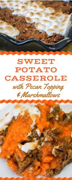 Sweet Potato Casserole with Pecan Topping and Marshmallows is the perfect compromise when you have some people who only like the pecan topping and other people who only like the marshmallows. It's easy and smart to let everyone have what they want. Canned Sweet Potato Casserole, Sweet Potato Toppings, Loaded Sweet Potato, Sweet Potato Recipes, Boiling Sweet Potatoes, Canning Sweet Potatoes, Sweet Potatoes With Marshmallows, Recipes With Marshmallows, Sweet Potato Cinnamon