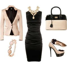 Classy dress-up #black #dress #blush #jacket #outfit #pumps