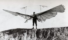 Otto Lilienthal and one of his gliders, 1890s