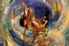 Persian miniature of Mahmoud Farshchian Iran, Persian, Miniatures, Painting, Inspiration, Beautiful, Tile, Facebook, Water