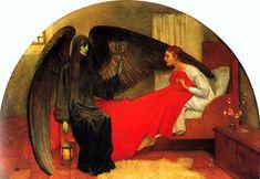 la jeune fille et la mort, tableau de Marianne Stokes, vers 1900.  fileane.com