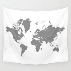 Minimalist World Map Gray on White Background Wall Tapestry
