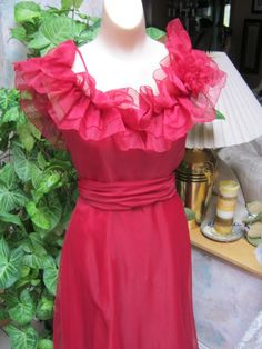 Step mom - Vintage ruby red party gown cranberry red ruffled by lovinglola