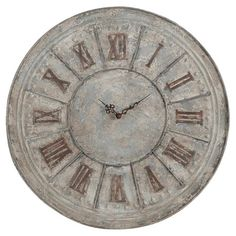 Set of two weathered wall clocks with Roman numerals and detailed hands.   Product: Set of 2 clocksConstruction Mate...