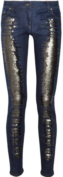 Roberto Cavalli Blue Sequined Low Rise Skinny Jeans | The House of Beccaria~