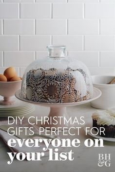 Jazz up an everyday glass cake dome in minutes with whimsical etched and painted doodles to make this DIY Christmas gift. #diychristmasgifts #christmascrafts #homemadegifts #giftbasketideas #bhg