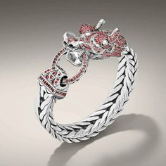 Naga Collection, dragon head bracelet on rectangular chain with red sapphire. All in Sterling Silver by John Hardy