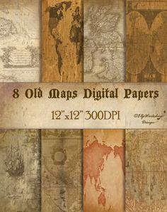 Alte Karten digital Papiere Es ist ein Pack mit 8 alte Karte digital Papiere - set für Scrapbooking, Karten, Einladungen, Geburtstagsfeiern. Diese digitale alte Karten Papiere können Sie für jede Fertigkeit, die du dir vorstellen kannst! Alte Karten Papiere für Ihre DIY-basteln, digital Design, Web-designs Details zu Ihrer Bestellung: Sie erhalten eine Email mit Zip-Datei mit 8 Digital Papiere 12 x 12 Zoll - 300 DPI bereit für den Druck (einige Minuten, wenn Sie die Bestellung abschließen...