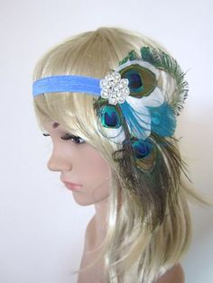 Vintage Peacock Feather 1920s Flapper Headband | eBay