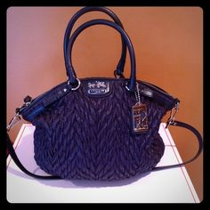 AUTHENTIC 70th Anniversary Coach bag! Beautiful MINT CONDITION 70th Anniversary Large Coach! Can be a cross body as well. Large zipper compartment and 2 cell phone compartments. Beautiful navy blue and gray lining. Coach Bags