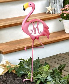 The Flamingo Monogram Yard Stake is a fun way to customize your garden decor. This vibrant pink bird stands on one leg and has your scrolled intial in the cente Flamingo Decor, Pink Flamingos, Yard Flamingos, Flamingo Outfit, Flamingo Beach, Bird Stand, Front Yard Design, Pink Bird, Outdoor Christmas Decorations
