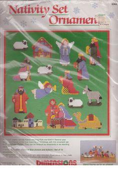 Dimensions Christmas Nativity Set 15 Ornaments Plastic Canvas Needlepoint 1989  #Dimensions