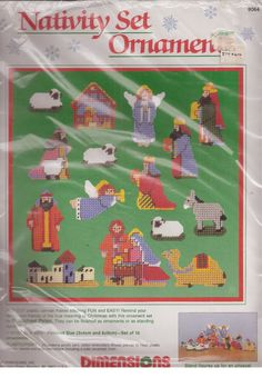 Dimensions Christmas Nativity Set 15 Ornaments Plastic Canvas Needlepoint 1989  #Dimensions