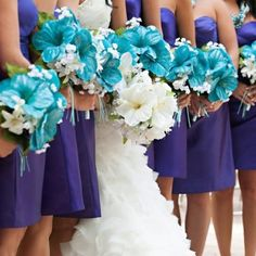purple and turquoise wedding decorations | bridesmaids-in-purple-with-turquoise-bouquets.jpg