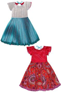 This Frozen inspired twirly dress is reversible. One side for each sister. This is not a scratchy costume. It's a beautifully soft and comfortable dress. Click to learn more.