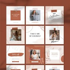 Instagram Feed Planner, Feeds Instagram, Instagram Posts, Social Media Banner, Social Media Template, Social Media Design, Instagram Square, Instagram Design, Girly