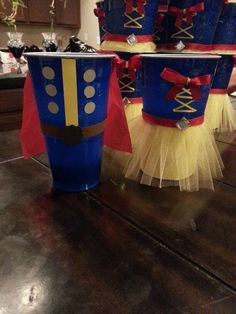 """Snow White and the prince treat cups. Made these for my daughter's Snow White theme party. Made from Hefty """"tall boy"""" sized cups."""