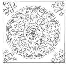 Ottoman paterns&motifs Mandala Coloring, Colouring Pages, Coloring Books, Mehndi, Henna, Turkish Pattern, Arabesque Pattern, Islamic Patterns, Turkish Art