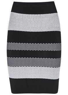 Alexander Wang black and white textured knit rayon blend pencil skirt