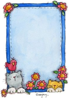 Stationery - Blue Frame with Cat Bottom Border Page Borders Design, Border Design, Cute Clipart, Frame Clipart, Borders For Paper, Borders And Frames, Free Printable Stationery, Diy And Crafts, Paper Crafts