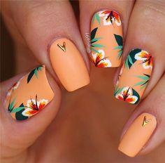 Amazing Acrylic Matte Short Nails Art Designs In Fall ; - Amazing Acrylic Matte Short Nails Art Designs In Fall ; Amazing Acrylic Matte Short Nails Art Designs In Fall ; Cute Acrylic Nails, Cute Nails, Pretty Nails, Cute Nail Art, Tropical Nail Designs, Tropical Flower Nails, Tropical Nail Art, Nail Design Glitter, Nails Design
