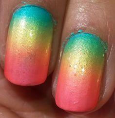 Macro shot of my rainbow gradient! #gradient #nails #nailart #ombre #gradientnails #ombrenails #ilovenailart