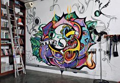 great contrast! really like graffitis at home..