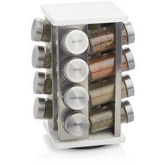 Crate & Barrel 16-Bottle White Revolving Spice Rack