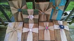 wood and burlap cross art