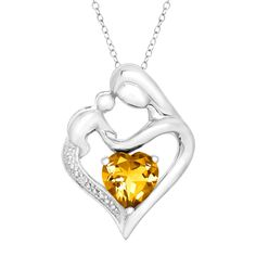 The perfect way to show mom how much she means to you. This 1 1/10 ct Citrine Mother & Child Pendant with Diamond in Sterling Silver drops from $34 to $24.