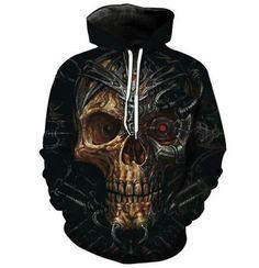 Cyborg Skeleton Skull Men Women Unisex Printed Movie T-Shirt Comic Con Top Geek Tee Clothing Skull Hoodie, Red Hoodie, Skull Fashion, Mens Fashion, Metal Skull, Skull Print, Mens Sweatshirts, Printed Sweatshirts, Black And Brown