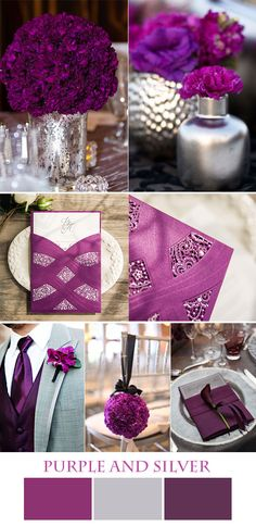 purple and silver wedding color inspiration and gorgeous invitations