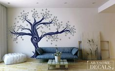 FREE SHIPPING - Large Tree wall decal - Tree Wall Sticker- tree wall art  - home decor - 007 by awesomeDecals on Etsy