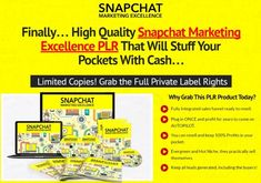 Snapchat Marketing Excellence PLR Video eCourse    Video content has a much higher perceived value than just a PDF report. You'll get the same great Snapchat Marketing content in a high-quality video format that your customers will love!    It's a very practical course that even a complete beginner can follow and get results with it.No fluff theories. Only actionable steps to succeed.    What Is Included?      We've put together 10 AMAZING training videos on Snapchat Marketing that are…