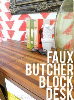 Faux Butcher Block Desk by @Vintage Revivals