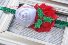 Jolly Holly Shabby Flower and Satin Rose on by OnceUponATimeTuTus, $4.99