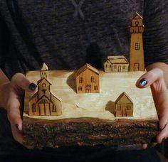 Miniature Wooden Village - Miniature Houses - Reclaimed Wood - Mini Wood Houses…