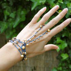 Fresh water pearl wrap slave bracelet - blue and gold - anklet, bracelet, necklace, head band mermaid