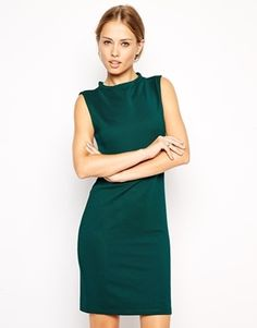 $20, Dark Green Bodycon Dress: Asos Collection Sleeveless Midi Dress In Rib With High Neck. Sold by Asos. Click for more info: https://lookastic.com/women/shop_items/127026/redirect