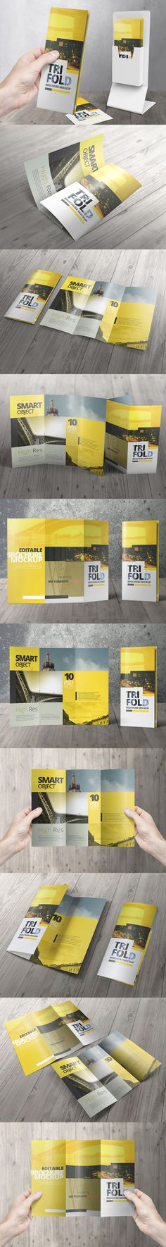High resolution Tri Fold Mockups to makes easier in showcasing your print design projects, fast and easy with Smart Object features that allows you to drag and drop your design template into the mockups.