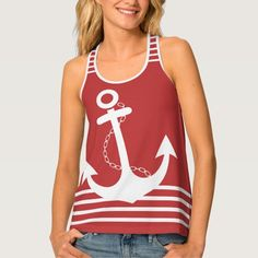 Red with White Stripes and Anchor Design