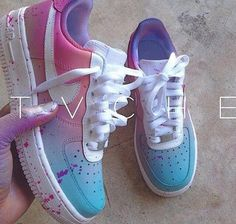 96422befba8 Boys size 6 (Women s size Custom Air Force One Mids - Pastel Pink and Blue  gradient with lavender paint splatter.