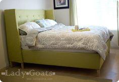 DIY upholstered, wingback bed...LURV  Morrison-Bed-with-bedding