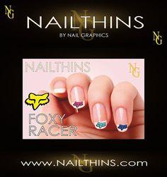 FOXY RACER 20 Nail Decal Nail Art  Nail Design by NailGraphics, $3.25