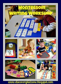 Montessori Writing Workshop Maybe could use some of this in my writing center Preschool Writing, Montessori Preschool, Montessori Education, Montessori Materials, Toddler Preschool, Kids Education, Toddler Activities, Montessori Trays, Montessori Elementary
