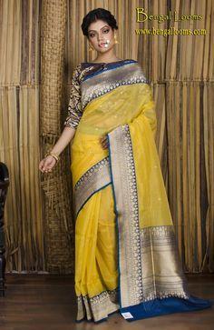 Pure Kora Silk Banarasi Saree in Banana Yellow and Navy Blue