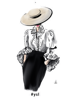 Yves Saint Laurent from collection . - Yves Saint Laurent of collection … – sewing thi - Fashion Drawing Dresses, Fashion Illustration Dresses, Fashion Illustrations, Fashion Illustration Vintage, Fashion Design Sketchbook, Fashion Design Drawings, Vintage Fashion Sketches, Sketch Fashion, Yves Saint Laurent